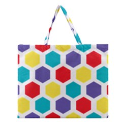 Hexagon Pattern  Zipper Large Tote Bag