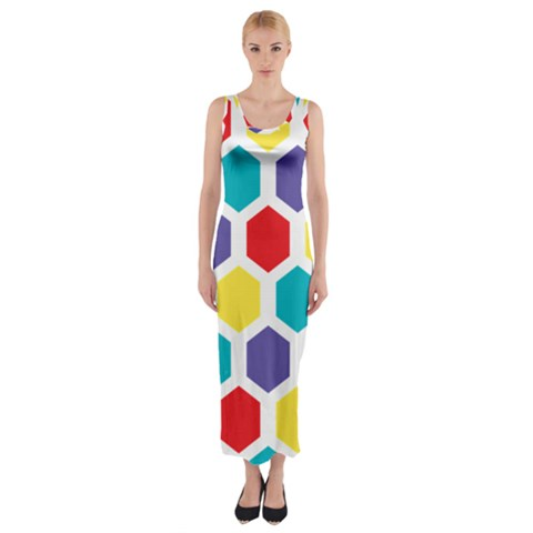 Hexagon Pattern  Fitted Maxi Dress
