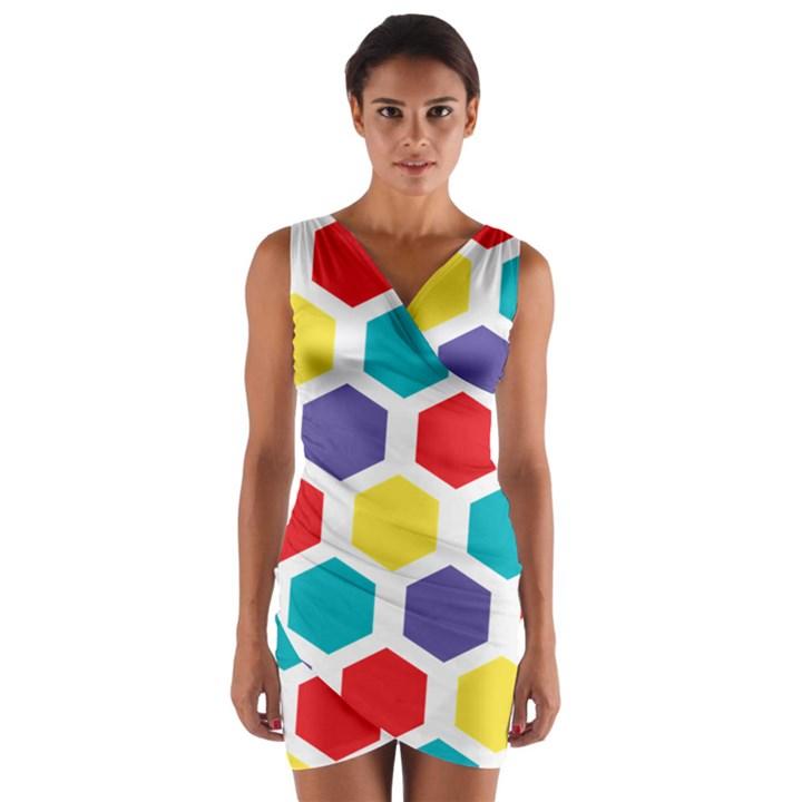 Hexagon Pattern  Wrap Front Bodycon Dress