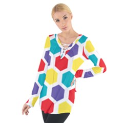 Hexagon Pattern  Women s Tie Up Tee
