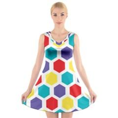 Hexagon Pattern  V-Neck Sleeveless Skater Dress