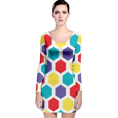 Hexagon Pattern  Long Sleeve Velvet Bodycon Dress