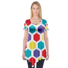 Hexagon Pattern  Short Sleeve Tunic