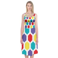 Hexagon Pattern  Midi Sleeveless Dress