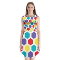 Hexagon Pattern  Sleeveless Chiffon Dress
