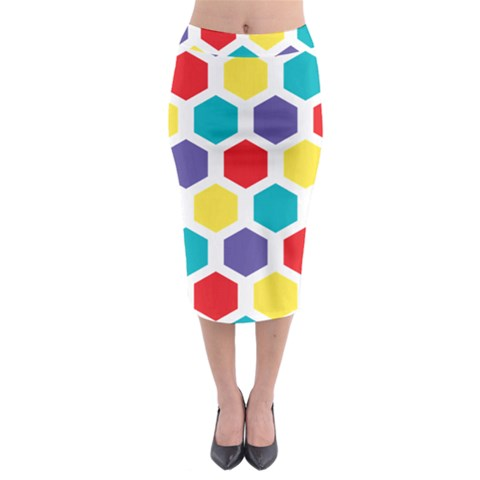 Hexagon Pattern  Midi Pencil Skirt