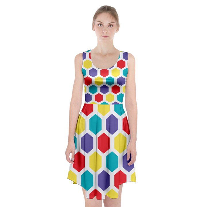 Hexagon Pattern  Racerback Midi Dress