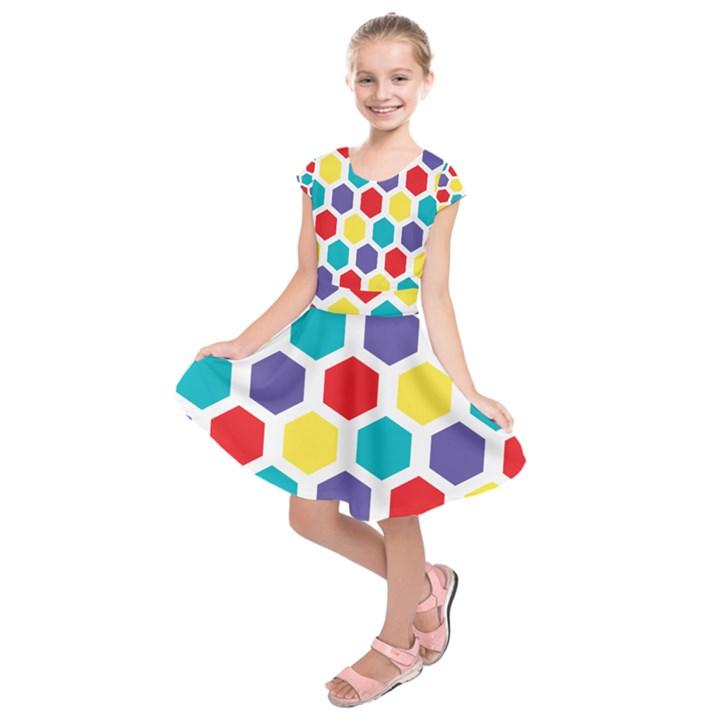 Hexagon Pattern  Kids  Short Sleeve Dress