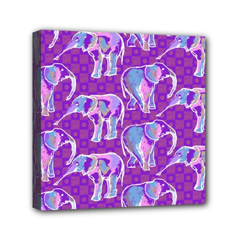 Cute Violet Elephants Pattern Mini Canvas 6  x 6