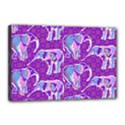 Cute Violet Elephants Pattern Canvas 18  x 12  View1