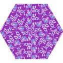 Cute Violet Elephants Pattern Mini Folding Umbrellas View1