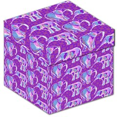 Cute Violet Elephants Pattern Storage Stool 12