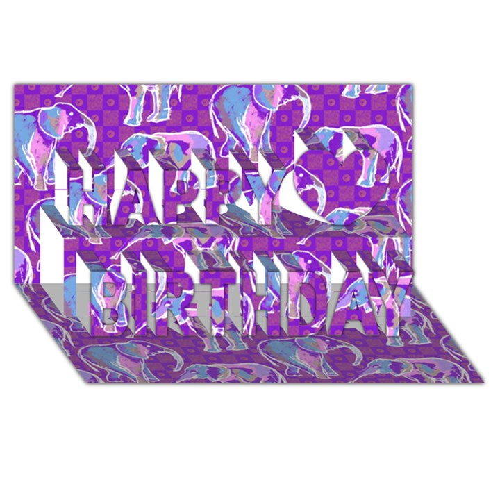 Cute Violet Elephants Pattern Happy Birthday 3D Greeting Card (8x4)