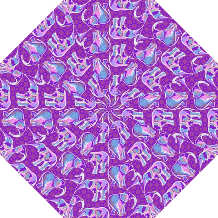 Cute Violet Elephants Pattern Hook Handle Umbrellas (Medium)