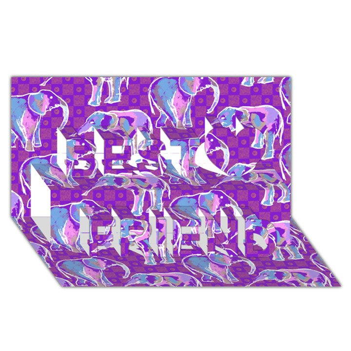 Cute Violet Elephants Pattern Best Friends 3D Greeting Card (8x4)