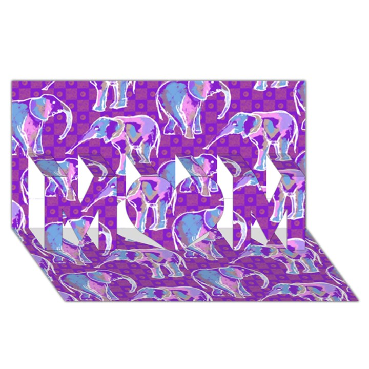 Cute Violet Elephants Pattern MOM 3D Greeting Card (8x4)