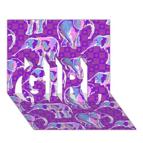 Cute Violet Elephants Pattern GIRL 3D Greeting Card (7x5)