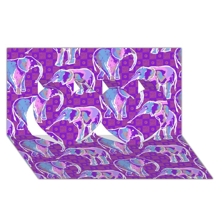 Cute Violet Elephants Pattern Twin Hearts 3D Greeting Card (8x4)