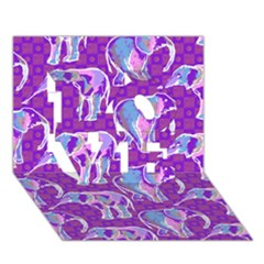 Cute Violet Elephants Pattern LOVE 3D Greeting Card (7x5)