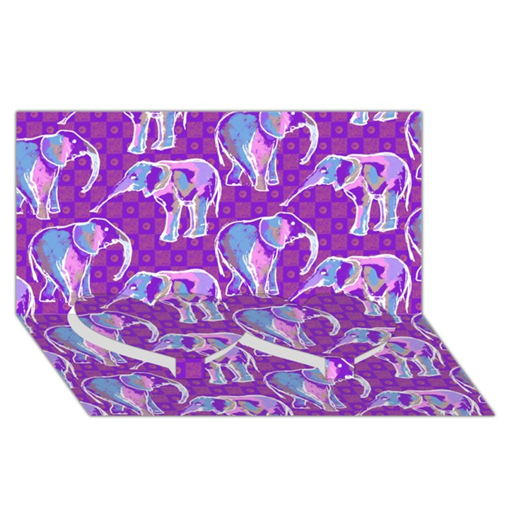 Cute Violet Elephants Pattern Twin Heart Bottom 3D Greeting Card (8x4)