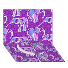 Cute Violet Elephants Pattern Circle Bottom 3D Greeting Card (7x5)