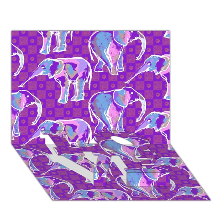 Cute Violet Elephants Pattern LOVE Bottom 3D Greeting Card (7x5)