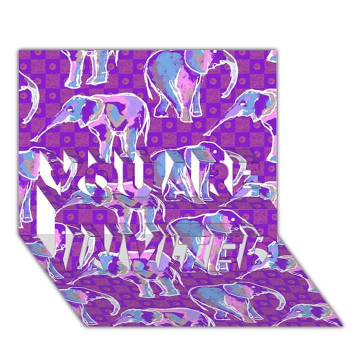 Cute Violet Elephants Pattern YOU ARE INVITED 3D Greeting Card (7x5)