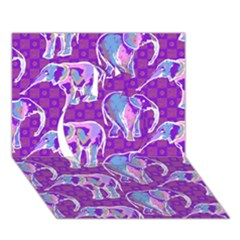 Cute Violet Elephants Pattern Apple 3d Greeting Card (7x5)