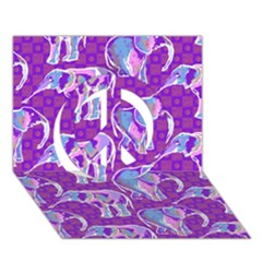 Cute Violet Elephants Pattern Peace Sign 3d Greeting Card (7x5)