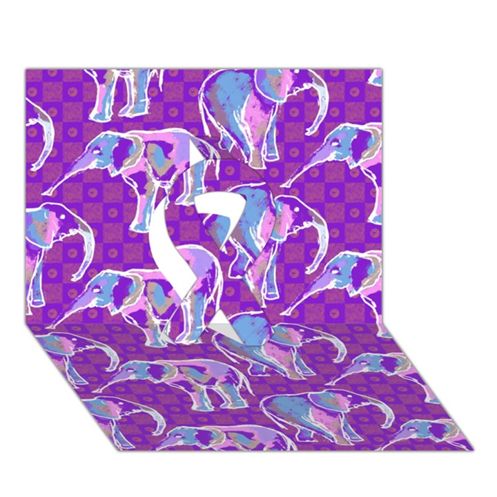 Cute Violet Elephants Pattern Ribbon 3D Greeting Card (7x5)