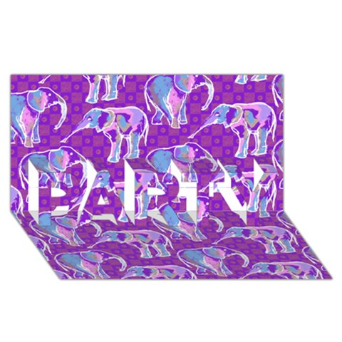 Cute Violet Elephants Pattern PARTY 3D Greeting Card (8x4)