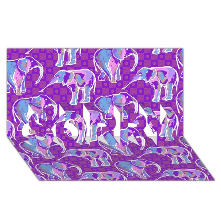 Cute Violet Elephants Pattern SORRY 3D Greeting Card (8x4)