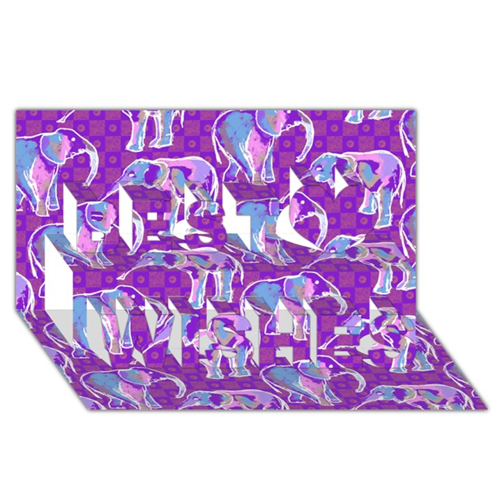 Cute Violet Elephants Pattern Best Wish 3D Greeting Card (8x4)
