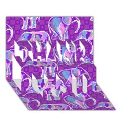 Cute Violet Elephants Pattern THANK YOU 3D Greeting Card (7x5)