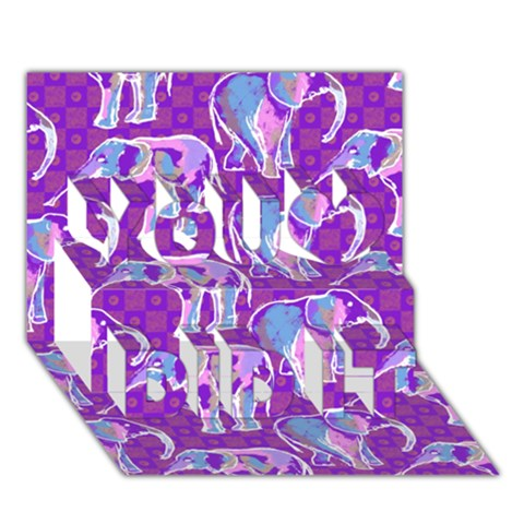 Cute Violet Elephants Pattern You Did It 3D Greeting Card (7x5)