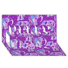 Cute Violet Elephants Pattern Merry Xmas 3D Greeting Card (8x4)