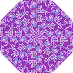 Cute Violet Elephants Pattern Hook Handle Umbrellas (Small)