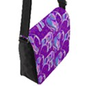Cute Violet Elephants Pattern Flap Messenger Bag (S) View2