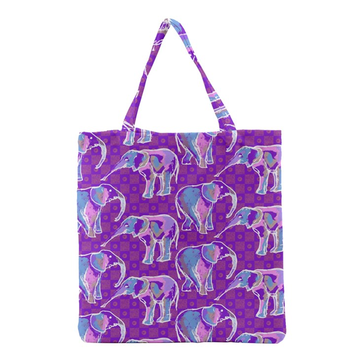 Cute Violet Elephants Pattern Grocery Tote Bag
