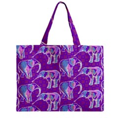 Cute Violet Elephants Pattern Mini Tote Bag
