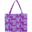 Cute Violet Elephants Pattern Mini Tote Bag View1