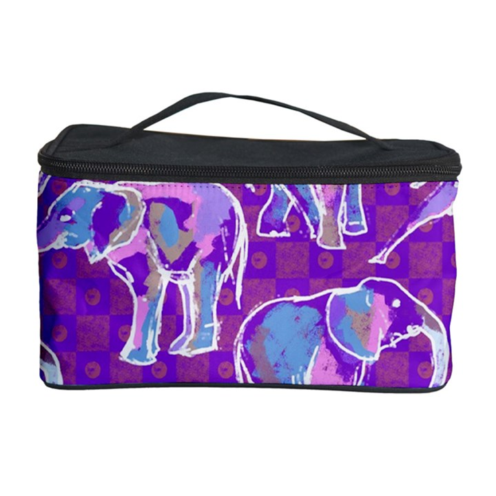 Cute Violet Elephants Pattern Cosmetic Storage Case