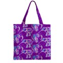Cute Violet Elephants Pattern Zipper Grocery Tote Bag View1