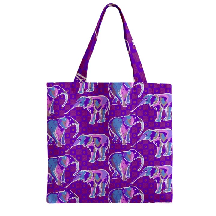 Cute Violet Elephants Pattern Zipper Grocery Tote Bag
