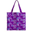 Cute Violet Elephants Pattern Zipper Grocery Tote Bag View2