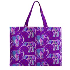 Cute Violet Elephants Pattern Zipper Mini Tote Bag