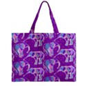 Cute Violet Elephants Pattern Zipper Mini Tote Bag View1