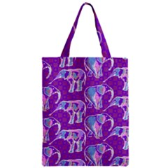 Cute Violet Elephants Pattern Zipper Classic Tote Bag