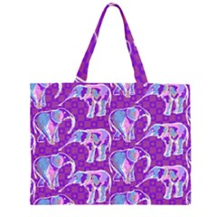 Cute Violet Elephants Pattern Large Tote Bag
