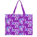 Cute Violet Elephants Pattern Large Tote Bag View1